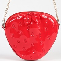 Patent Strawberry Crossbody Bag RED