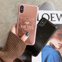 KENZO Tide brand metal tiger head iPhone X mobile phone shell couple models hard shell