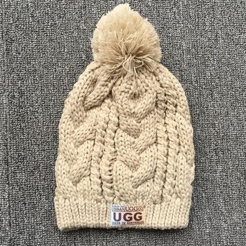 UGG Fashion Winter Warm Women Men Knit Beanie Ball Cuff JUICEACTION