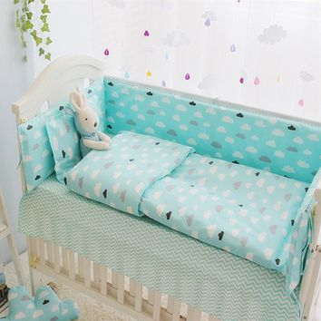 Green Clouds 4-10 Pcs Girls Boys Baby Bedding Set Cot Sets 120*60CM Crib Sheet Set Baby Bed Bumper Pillow Quilt Cover+Filling