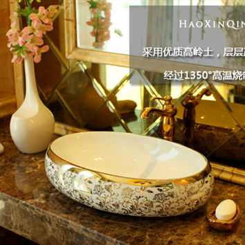 Oval Bathroom Lavabo Ceramic Counter Top Wash Basin Cloakroom Hand Painted Vessel Sink bowl 5014