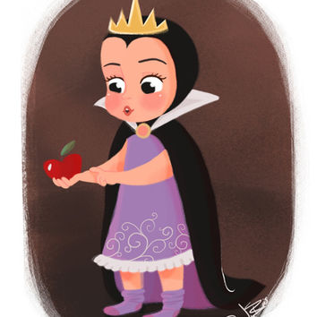 Disney Little Villain - Evil Queen Art Print by Vivianne du Bois