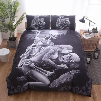 Lai Yin Sun  3D Black Motorcycle Skull Printed Duvet Cover Set 2/3pcs Single  Queen King Bedclothes Bed Linen Bedding Sets