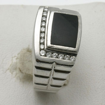 Vintage 14k white gold Diamond Black Onyx Men's Ring Square 1/4 carat Estate