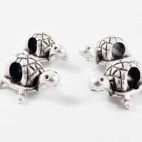 4 Turtle Bead Spacers - Pandora European Style Charm Bracelet -  Matte Silver Plated