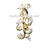 Golden Crystal Vine Reverse Belly Button Ring Stainless Steel Body Jewelry