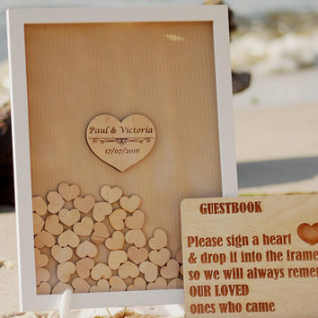 Wedding guest book alternative, Wedding guestbook Brown, Wooden hearts, Brown White Drop top box, Wedding box, Wedding Sign