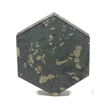 Apache Gold Stone Golden Chalcopyrite in Black Schist Cabochon Loose Jewelry Stone Craft Stone Hexagon