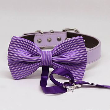 Purple Dog Bow Tie ring bearer Collar, Pet Wedding, Puppy Love, Proposal, Handmade Gifts