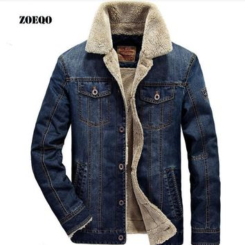 Trendy ZOEQO New men jacket and coats Mens Rodeo Lined Denim Jackets Fashion mens jeans jacket Thicken warm winter outwear male  M~4XL AT_94_13