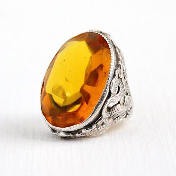 Vintage Snake Ring - Sterling Silver Art Deco Simulated Citrine Figural Serpant Statement - Size 4 Orange Glass Stone 1930s Serpent Jewelry