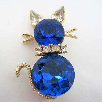 Dodds Kitty Cat Pin - Blue Rhinestones - Large Glass Cabachon Body - Clear Ears and Collar