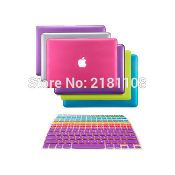 "2 in1 Rubberized Hard Case Keyboard Skin Cover for Macbook White 13"" A1342  Air Pro 13"" 15"" A1278 A1465 A1534 A1502 A1466 A1706"