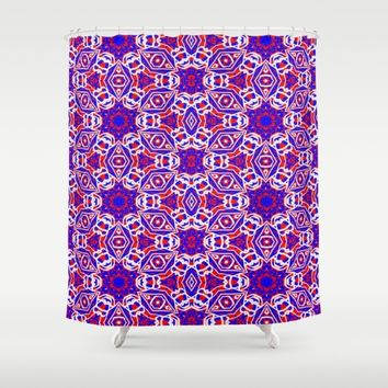 Red, White and Blue Diamonds 242 Shower Curtain by Celeste Sheffey of Khoncepts