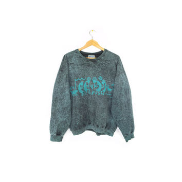 90 Kokopelli stonewash teal crewneck sweatshirt - vintage 1990s - southwestern tribal pattern - native american flute dancer