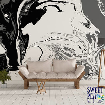 Black and white paint wall mural / marble abstract removable wallpaper / artistic self adhesive wall mural M2982