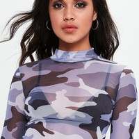 Missguided - Blue Camo Mesh Crop Top