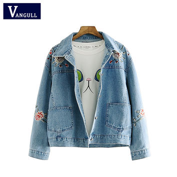 2016 New Spring and Autumn Embroidery Floral Fashion High Quality warm Jacket Short Long-Sleeve Cardigan Coat Jeans Jacket Women