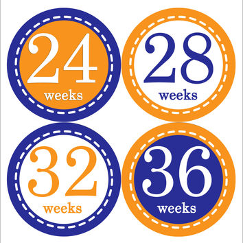 Pregnancy Baby Bump Week Stickers Style #908