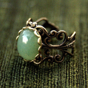 Aventurine Filigree Ring by ragtrader on Etsy