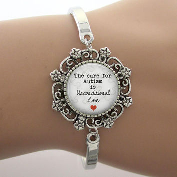The cure for Autism is unconditional Love Glass Dome Lace Charm Bracelet