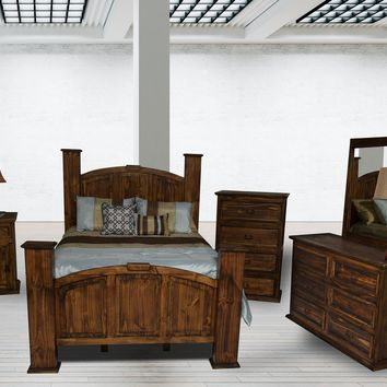 Rustic Collection: Mansion Antique 5 Piece Bedroom Suite