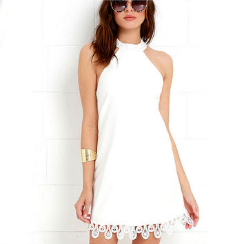Halter Neck Back Cross Lace Shift Dress