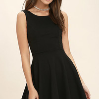 Call Me Anytime Black Backless Skater Dress