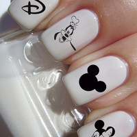 Black and White Disney Character Nail Decals