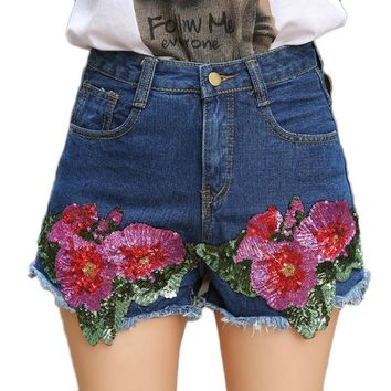 Vintage Flower Sequines Shorts Mid Waist Denim Shorts Women zipper Loose Shorts Punk Sexy blue mini Short Jeans summer femme