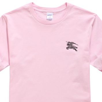 Burberry New fashion bust war horse print couple top t-shirt Pink