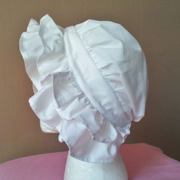 Colonial Cap, 18th Century Hat or Bonnet with Double Ruffle, Girls and Ladies Sizes