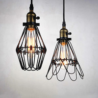 Kaye Wire Cage Rustic Pendant Light. Industrial Shabby Chic Style.