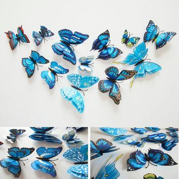 28 Colors 12pcs/lot PVC Butterfly 3D wall sticker home Art Design Wall Decor Bedroom Living room Decorative decal kid room