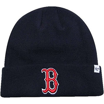 MLB Officially Licensed Boston Red Sox '47 Brand Cuffed Logo Beanie Hat Cap Lid Skull (Navy Blue)