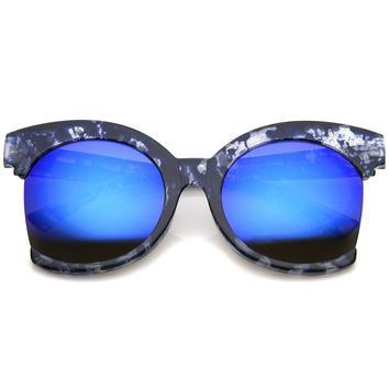BLUE LAGOON OVERSIZED SIDE CUT CAT EYE SUNGLASSES
