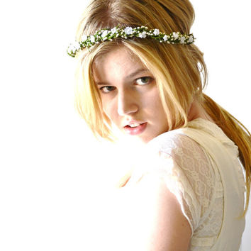 White flower hair circlet, vine crown, bridal flower headpiece, flower hair wreath, bridal crown, white wedding hair accessories - GRACE