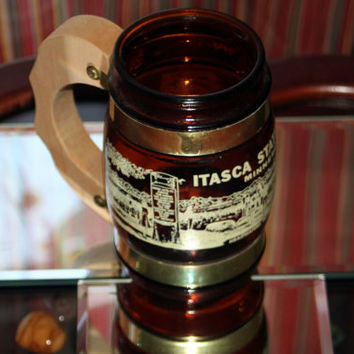 Itasca State Park Souvenir Mug Brown Glass with Wooden Handle & Brass Accent Barrel Style