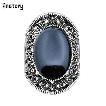 Hollow Flower Oval Stone Rings For Women Vintage Antique Silver Plated Fashion Jewelry TR410