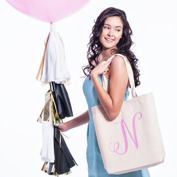 Personalized Calligraphy Initial Tote