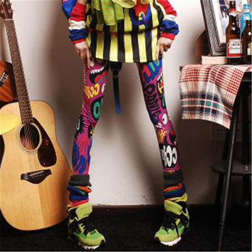 Plus Size Fashion Ankle Leggings Mid Print Thin Legging 7 Colors Rock Roll Style High Quality 71852 GS