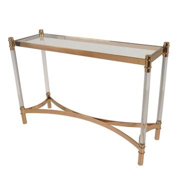 Fresca Acrylic Console Table Glass Top, Transparent/Gold