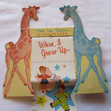 Vintage Tot To Teen Height Record Giraffes
