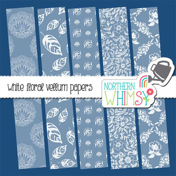 White Floral Vellum Digital Paper Pack – elegant vellum papers for wedding and shower  invitations & scrapbooking – instant download – CU OK