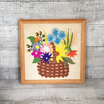 Embroidery Wall Art Vintage Crewel Flower Wall Art Framed Embroidery Wall Hanging Framed Crewel Picture Needlepoint Wall Hanging Floral