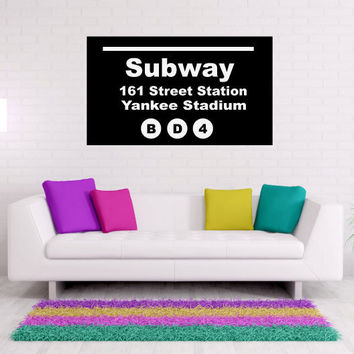 Yankee Stadium New York City Subway Sign Vinyl Wall Words Decal Sticker Graphic