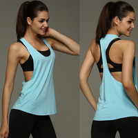 Women's Summer Sexy Tank Top Dry Quick Loose Gym Fitness Sport Sleeveless Vest Singlet For Running Training