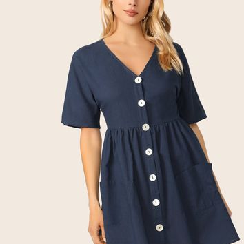 Pocket Front Button Up Tea Dress