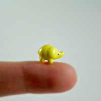 Micro Lemon Elephant - Hand Sculpted Miniature Polymer Clay Animal
