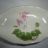 Vintage Otagiri Japan Porcelain Cyclamen Pedestal Soap Dish Holder